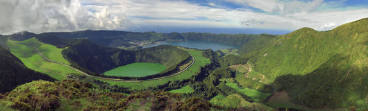 Azores lagoons. Landscape view of Sete Cidades area showing several lagoons: Rasa, Santiago, Caldeira Seca, Caldeira do Alferes and Blue. Azores, San Miguel royalty free stock photography