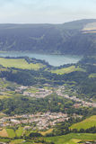 Azores landscape with Furnas lake and village from Salto Cavalo Royalty Free Stock Photos