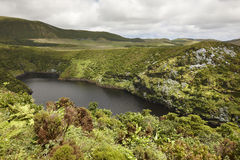Azores landscape with lake in Flores island. Caldeira Comprida.