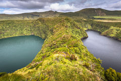 Azores landscape with lake in Flores island. Caldeira Funda. Por Royalty Free Stock Photo