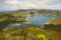 Azores landscape with lake. Lagoa do Fogo, Sao Miguel. Portugal Royalty Free Stock Photos