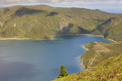 Azores landscape with lake and ocean in Sao Miguel, Azores Stock Photos