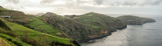 Azores landscape. Panoramic views of the coast of Sao Miguel Island, Azores stock image