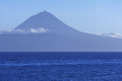 Azores landscape with Pico mountain and atlantic ocean. Portugal Royalty Free Stock Images