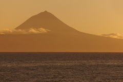 Azores landscape with Pico mountain and atlantic ocean. Portugal Stock Photography