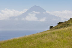 Azores landscape. Pico mountain view from Sao Jorge island. Port Stock Image