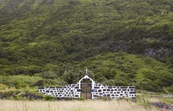 Azores landscape with rural cemetery in Sao Jorge island. Portug Stock Images