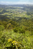 Azores landskap med Furnas sjön och byn från Salto Cavalo Arkivfoton