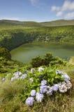 Azores landskap med sjön i den Flores ön Caldeira Funda Por Royaltyfri Fotografi