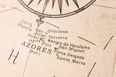 Azores map detail. Macro shot of the Azores on an English globe Stock Photos