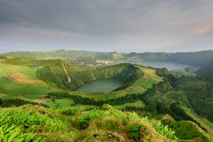 Azores panoramic view of natural landscape, wonderful scenic island of Portugal. Beautiful lagoons in volcanic craters and green f. Ields. Tourist attraction and royalty free stock image