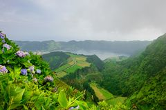 Azores panoramic view of natural landscape, wonderful scenic island of Portugal. Beautiful lagoons in volcanic craters and green f. Ields. Tourist attraction and stock photo