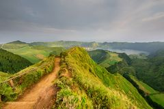 Azores panoramic view of natural landscape, wonderful scenic island of Portugal. Beautiful lagoons in volcanic craters and green f