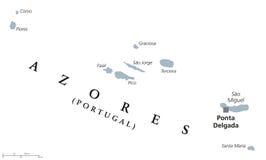 Azores polityczna mapa ilustracja wektor