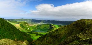 Azores, Portugal. Beautiful panoramic view on Sete Cidades lakes from the mountains on San Miguel Island. In the morning royalty free stock images