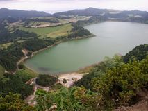 Azores S.Miguel Island lake and green valley. Aerial panoramic view over seven cities lagoon royalty free stock image