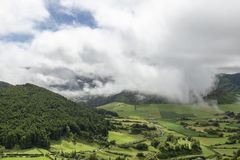 Azores Sao Miguel Pastures. Beautiful pastures in the Sete Cidades caldera on the island of Sao Miguel, Azores stock images
