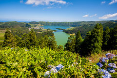 Azores viewpoint. Main Sete Cidades Lagoons (Green and Blue) seen from Vista do Rei viewpoint. Azores, San Miguel, Portugal stock images