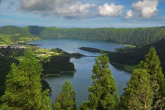 Azores viewpoint. Main Sete Cidades Lagoons (Green and Blue) seen from Vista do Rei viewpoint. Azores, San Miguel, Portugal Royalty Free Stock Image