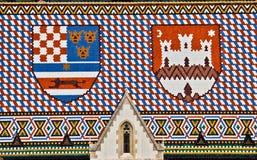 Azotea de la iglesia de Marco del santo con los ofarms croatas de la capa Imagen de archivo libre de regalías