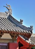 Azotea y detalle del alero de la vieja configuración china Foto de archivo libre de regalías