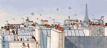 Azoteas de Francia - de París stock de ilustración