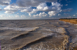 Azov Sea storm. Landscape of the Sea of Azov by a windy summer evening. Waves on the water surface, blue sky with clouds, high coast Royalty Free Stock Images