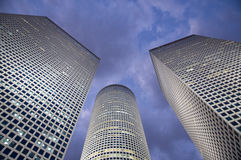 Azrieli Center. Is a complex of skyscrapers in Tel Aviv. At the base of the center lies a large shopping mall. The center was originally designed by Israeli Royalty Free Stock Photo