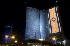 Azrieli Center. The Israeli flag on Azrieli Center royalty free stock image