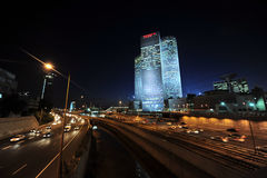 Azrieli Center at night in Tel Aviv Royalty Free Stock Image