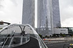 Azrieli Center, Tel Aviv. Tel Aviv, Israel - June 12, 2018: Exterior view of the Azrieli Center, three business towers in different shapes located between Ayalon stock images