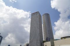 Azrieli Center, Tel Aviv. Tel Aviv, Israel - June 12, 2018: Exterior view of the Azrieli Center, three business towers in different shapes located between Ayalon stock photo