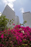 Azrieli Center, Tel Aviv. Tel Aviv, Israel - June 12, 2018: Exterior view of the Azrieli Center, three business towers in different shapes located between Ayalon royalty free stock photo