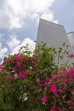 Azrieli Center, Tel Aviv. Tel Aviv, Israel - June 12, 2018: Exterior view of the Azrieli Center, three business towers in different shapes located between Ayalon stock photography