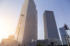 Azrieli Center, Tel Aviv. Tel Aviv, Israel - June 9, 2018: Exterior view of the Azrieli Center, three business towers in different shapes located between Ayalon stock photo