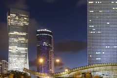 Azrieli Towers. Azrieli Center and Azrieli-Sarona Tower located in Tel-Aviv, Israel royalty free stock photos