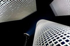 Azrieli towers israel. Low engel of the azrieli towers in tel aviv israel Stock Photo