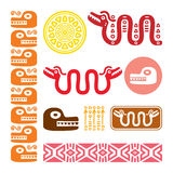 Aztec animals, Mayan snake, ancient Mexican design set. Abstract Maya and Aztec art animals and symbols in red, yellow, orange and brown isolated on white Stock Images