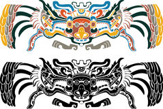 Aztec bird stencil wn two variants. Illustration for design Royalty Free Stock Photography