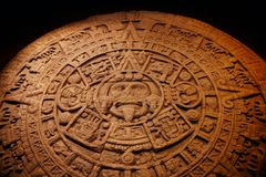 Aztec Calendar. The Aztec calendar was the calendar of the Aztec people of Pre-Columbian Mexico. It is one of the Mesoamerican calendars, sharing the basic royalty free stock images