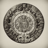 Aztec Calendar. Clay Aztec Calendar, knocked out of the background Royalty Free Stock Photo