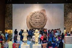 The Aztec Calendar or Stone of the Sun at the National Museum of Anthropology in Mexico City Stock Photos