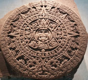 Aztec Calendar Stone or Sun Stone. The Aztec Sun Stone, also called the Aztec Calendar Stone, on display at the National Museum of Anthropology, Mexico City Royalty Free Stock Images