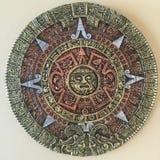 Aztec calendar. Wall decoration Aztec calendar multicolor Stock Photo