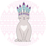 Aztec cat. Cute and funny cartoon aztec cat Royalty Free Stock Image