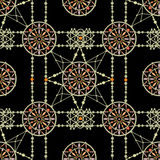 Aztec circle seamless indian pattern background. Aztec circle seamless indian pattern on black background vector illustration
