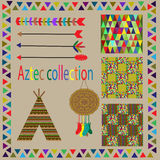 Aztec collection with design elements and three seamless patterns Stock Photos