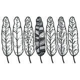 Aztec culture tribal feathers in native American ornaments style in black and white stock illustration