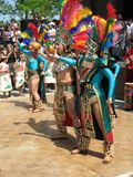 Aztec Dance Conclusion. Photo of Aztec dancers performing at the Cinco De Mayo festival in Washington D.C. on May 4, 2008.  Cinco De Mayo Celebrates Mexico's Royalty Free Stock Photography