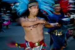 Aztec dancer. A Aztec dancer preforms during the day of the dead event Stock Image